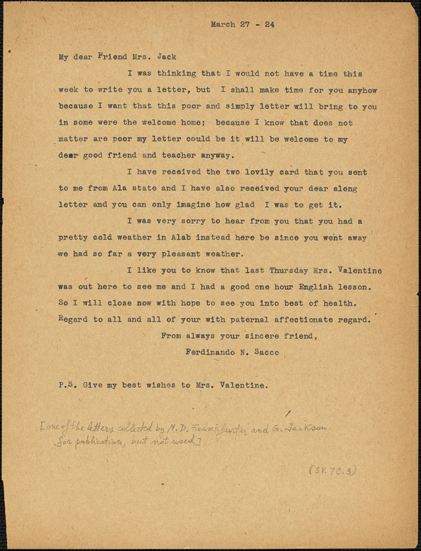 Nicola Sacco typed letter (copy) to Mrs. [Cerise] Jack, [Dedham], 27 March 1924
