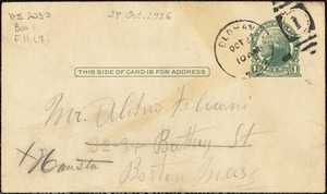 Nicola Sacco autographed note (postcard) signed to Aldino Felicani, [Dedham?], 27 October 1926