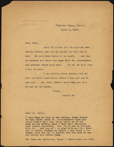 Elizabeth Glendower Evans typed note (copy) to Nicola Sacco, Boston, 8 March 1927