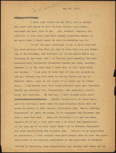 "Nicola Sacco typed letter (copy) to ""Auntie bi"" [Elizabeth Glendower Evans], [Dedham], 28 May 1927"