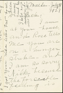 Jessica Henderson autographed letter signed to Nicola Sacco, Malden, 19 July 1927