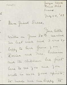 Gertrude L. Winslow autographed letter signed to Nicola Sacco, Forge Wood, Eng., 24 July 1927