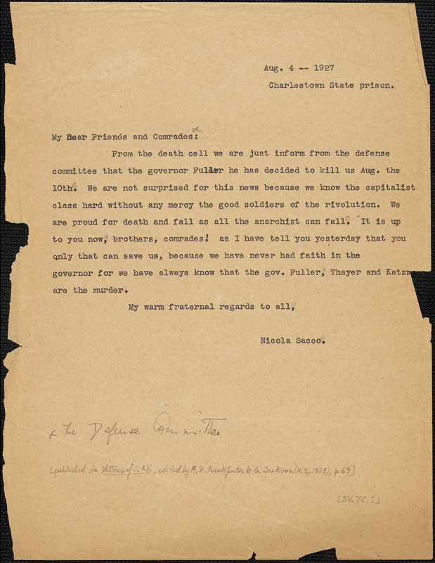 Nicola Sacco typed letter (copy) to