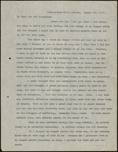 Nicola Sacco typed letter (copy) to Dante Sacco, Charlestown, 18 August 1927