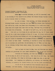 """Nicola Sacco and Bartolomeo Vanzetti typed letter (copy) to """"Dearest Friends and Comrades of the Sacco-Vanzetti Defense Committee"""", Boston, MA, from the Death-House of the Massachusetts State Prison, 21 August 1927"""