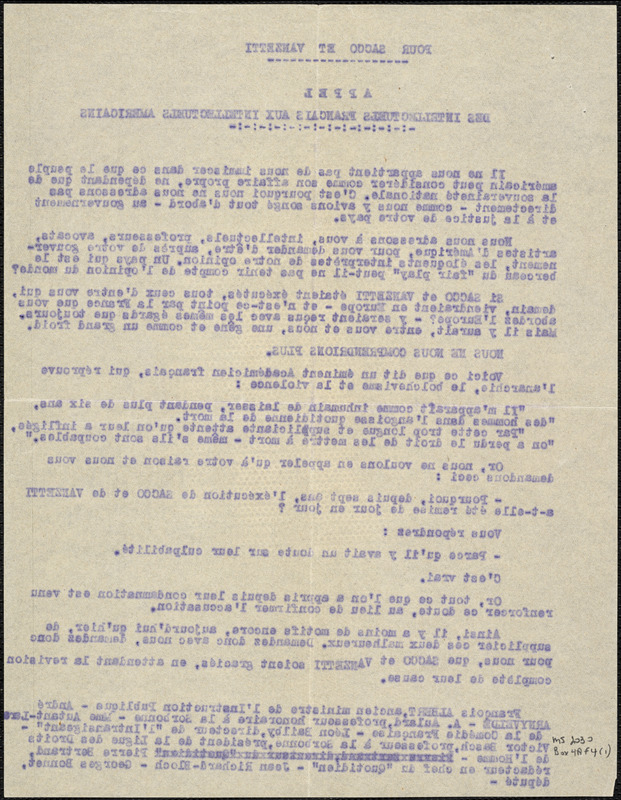 Des Intellectuels Francais Aux Intellectuels Americains typed letter to Nicola Sacco and Bartolomeo Vanzetti
