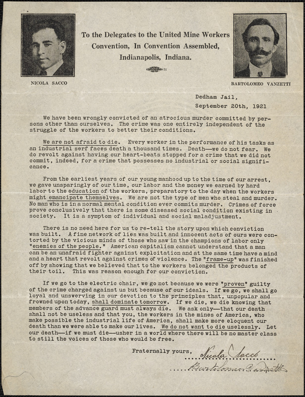 Nicola Sacco and Bartolomeo Vanzetti typed letter signed to the Delegates to the United Mine Workers Convention, Indianapolis, Ind., [Boston], 20 September 1921