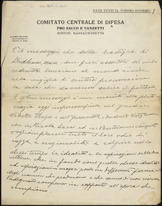 Autographed letter to [Nicola Sacco and Bartolomeo Vanzetti], [Boston?, ca. 1-7 April 1927?]