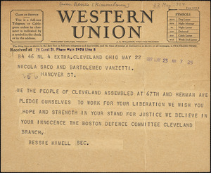 Bessie Kimell (Sacco-Vanzetti Defense Committee - Cleveland Branch) telegram to Nicola Sacco and Bartolomeo Vanzetti, Cleveland, 23 May 1927