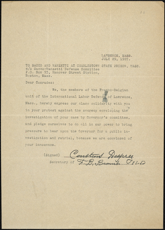 Franco-Belgian Unit of the International Labor Defense of Lawrence printed letter signed to [Nicola] Sacco and [Bartolomeo] Vanzetti, Lawrence, Mass., 29 July 1927