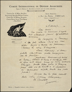 Comité International de Defense Anarchiste autographed letter signed to Cari Amici, Paris, 2 August 1927