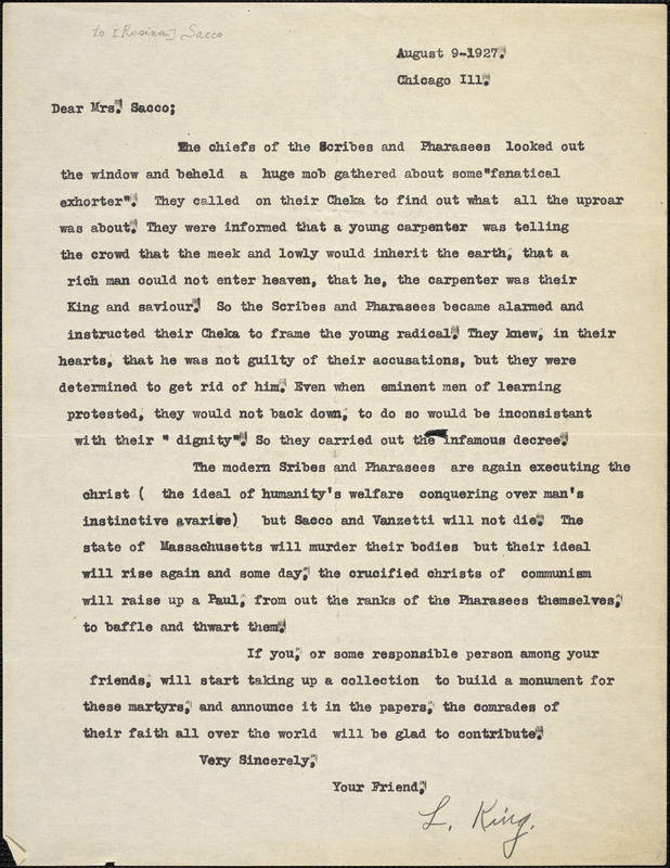 L. King typed letter signed to [Rosina] Sacco, Chicago, 9 August 1927