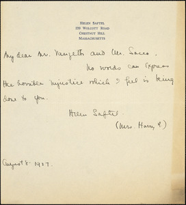 Helen Saftel autographed note signed to [Nicola] Sacco and [Bartolomeo] Vanzetti, Chestnut Hill, Mass., 8 August 1927