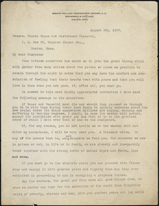 Bishop William Brown typed letter signed to Nicola Sacco and Bartolomeo Vanzetti, Galion, Ohio, 9 August 1927