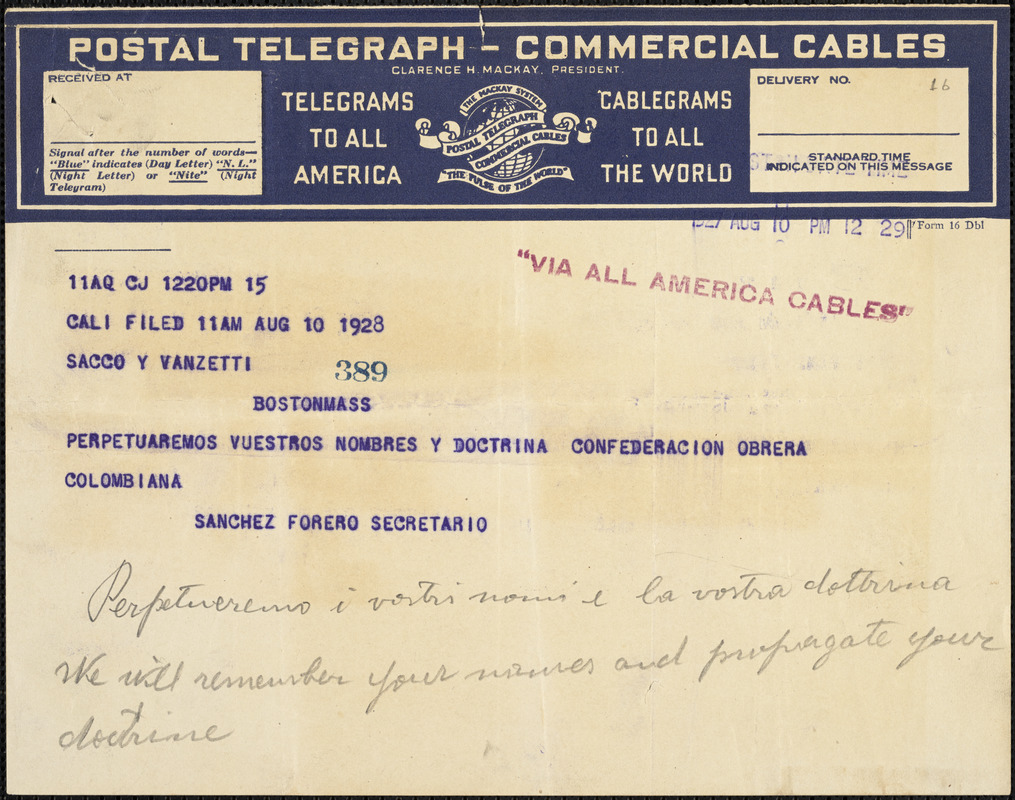 Confederacion Obrera telegram to [Nicola] Sacco and [Bartolomeo] Vanzetti, Columbia?, 10 August 19[27]