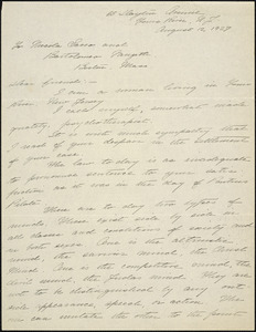 Gertrude E. Knox autographed letter signed to Nicola Sacco and Bartolomeo Vanzetti, Yours River?, N.J., 12 August 1927