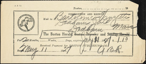 The Boston Herald 2 month subscription receipt from May 11, 1927 to July 11 1927 for Bartolomeo Vanzetti