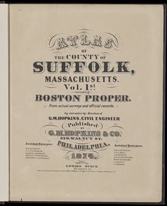 Atlas of the county of Suffolk, Massachusetts : vol. 1st including Boston proper