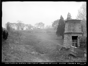 Distribution Department, Cochituate Aqueduct, surface conditions at lower end of tunnel, looking south; ventilator in foreground, right, Newton, Mass., May 17, 1909