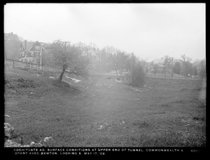 Distribution Department, Cochituate Aqueduct, surface conditions at upper end of tunnel, Commonwealth and Grant Avenues, looking south, Newton, Mass., May 17, 1909