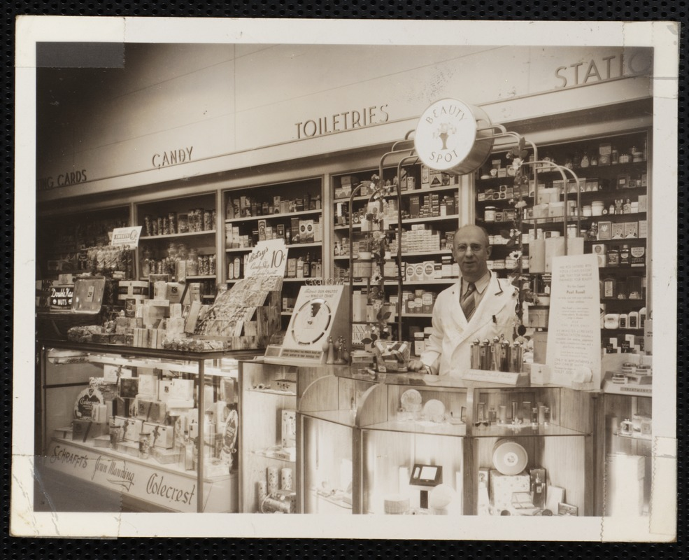Interior, Vose Drugs, pharmacist behind counter