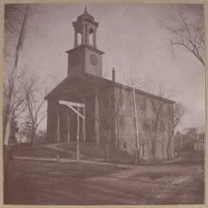East Braintree, church floated down the harbor from Hollis Street, Boston in 1809, built 1788.
