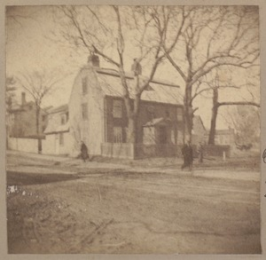 Medford, one of the houses where Paul Revere stopped during the ride. Jonathan Brooks house, corner Woburn + High Sts.