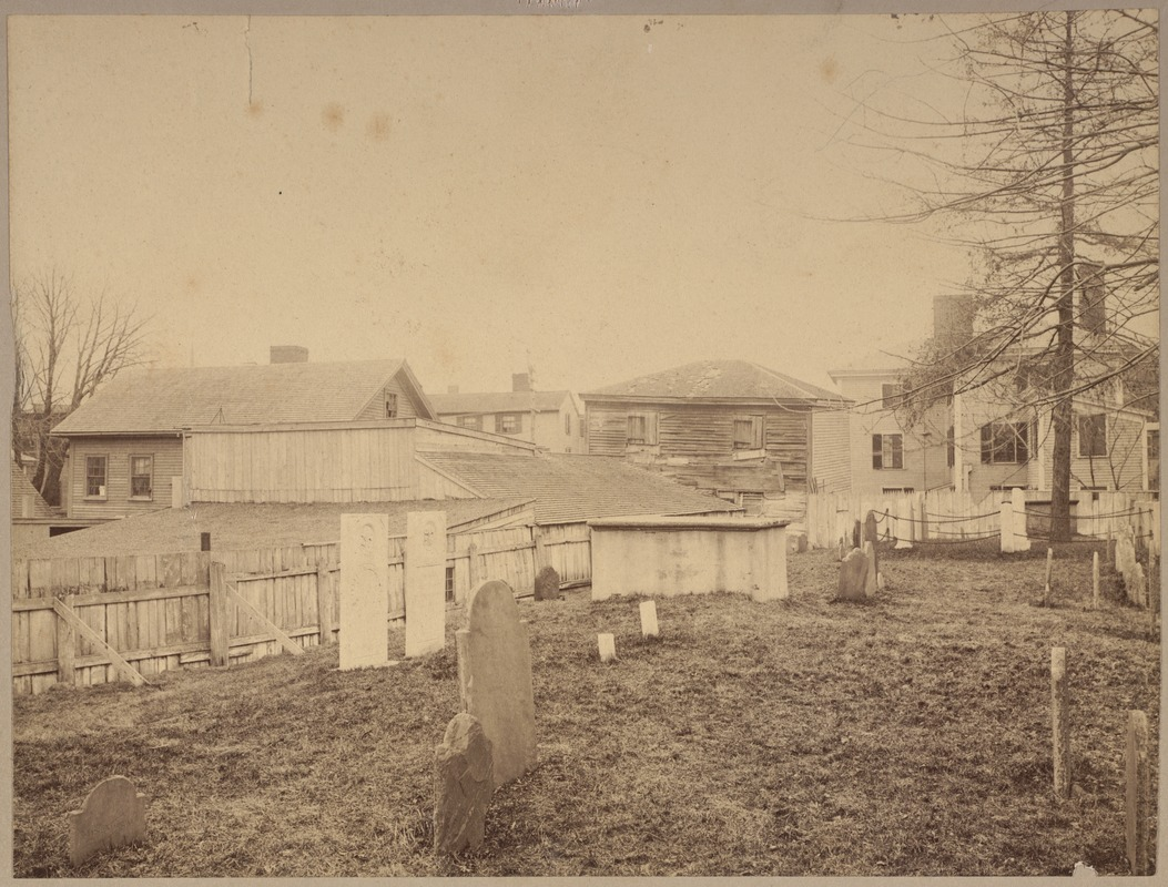 Charter Street Burying Ground, Salem, showing tomb in which Gov. Simon Bradsheet is buried