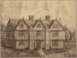 The Bradsheet house, Salem, torn down in 1750, was built by Emanuel Downing and + was conveyed to his daughter, Anne Gardner in 1656. She became the second wife of Gov. Simon Bradsheet, who died there in 1697.