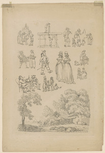 Outlines of figures, landscape, & cattle, etched by T. Rowlandson, for the use of learners, no. 5