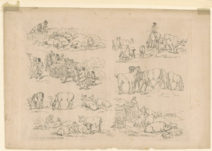 Outlines of figures, landscape, & cattle, etched by T. Rowlandson, for the use of learners, no. 11