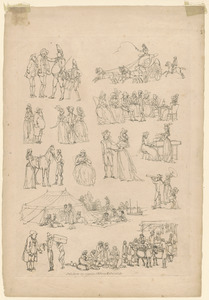 Outlines of figures, landscape, & cattle, etched by T. Rowlandson, for the use of learners, no. 7