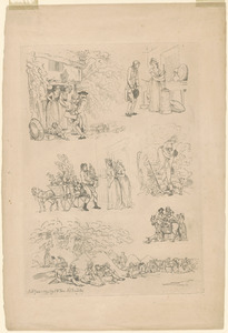 Outlines of figures, landscape, & cattle, etched by T. Rowlandson, for the use of learners, no. 13, 14, 15, or 16
