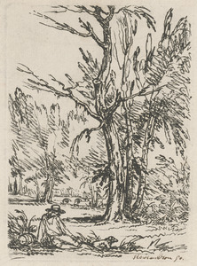 A person and dog sitting by trees