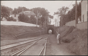 B&M R.R. west towards tunnel, crossing tender, Jere W. Buckley