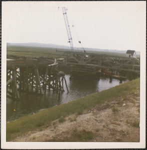 Tearing down old Plum Island Bridge