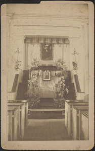 Inside Old South Church, main isle and pulpit, Rev. Whitefield portrait