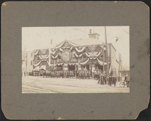 Central fire station decorated for city's 50th, 1901