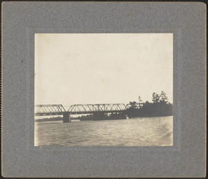 Essex Merrimack Bridge, Deer Island, destroyed by fire 5-29-1964