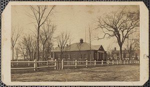Carte de visite of the North School House on the mall, circa early 1860s