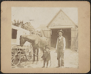 Andrew P. Lewis and his son Willard Russell Lewis, Jerry the horse at 9 Charter St., Newburyport Mass. about 1896