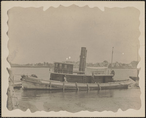 Tugboat, Clara E. Euler, tied up at waterfront