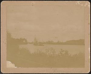 Nbpt tug boat towing schooner up river, c. 1905
