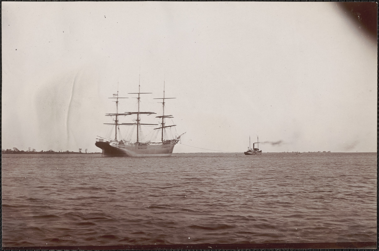 John Currier, starting on maiden voyage, being towed out of the Merrimac to Boston