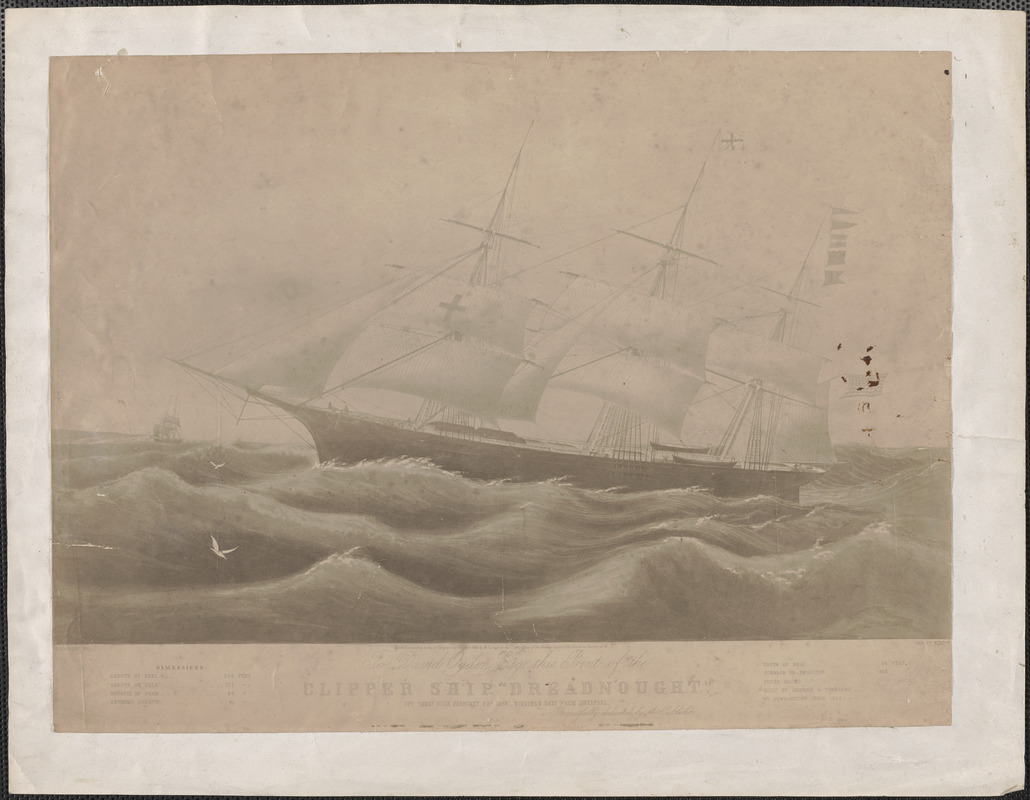 Clipper Ship Dreadnought off Sandy Hook February 23d 1854, nineteen days from Liverpool