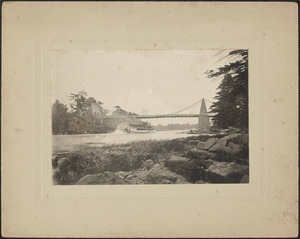 Chain Bridge with steamboat Merrimack, looking east from Moseley woods, c. 1900