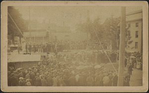 Laying of corner stone of YMCA, Harris & State, library to right