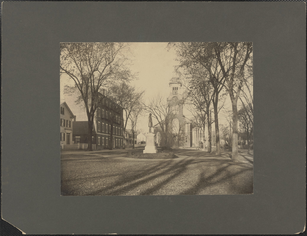 Brown Square, Newburyport, statue of William Lloyd Garrison and Brown Sq. Hotel built about 1800