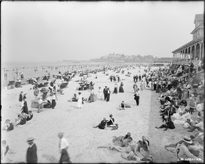 Nantasket Beach, view of chairs and bathers