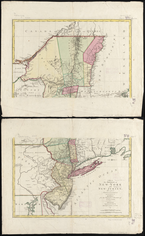 A map of the provinces of New-York and New Jersey, with a part of Pennsylvania and the Province of Quebec